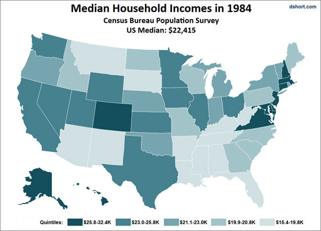 Annual Household Income Reports For - Median income map us