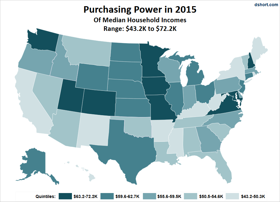 For An Idea Of The Geographical Distribution Of Purchasing Power Here Is A Map That Color Codes The States Based On A Quintile Breakdown